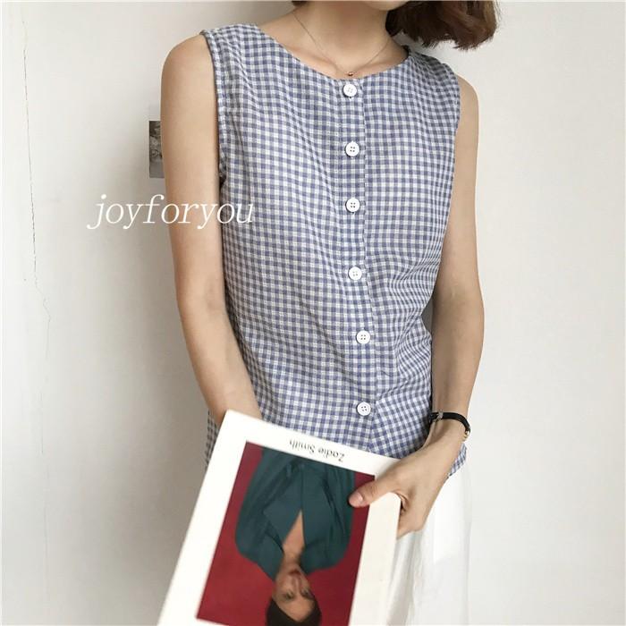 ♬  復古百搭寬松顯瘦無袖格子背心女單排扣雙穿襯衫