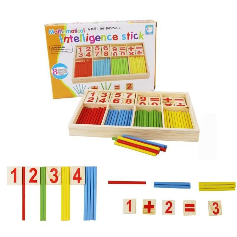 數學啟蒙實木製數字計算盒數數棒智力數字棒彩色學習棒數字盒
