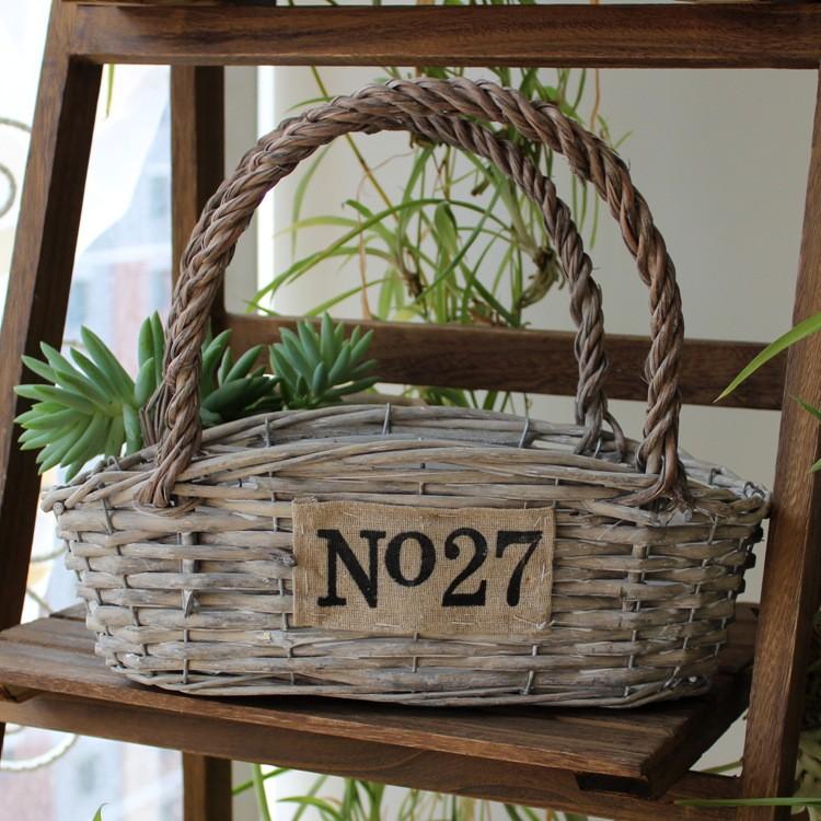 ※37 度C 【BB01 D 】日式雜貨美式鄉村復古風提籃款 花盆多肉水培zakka 花器