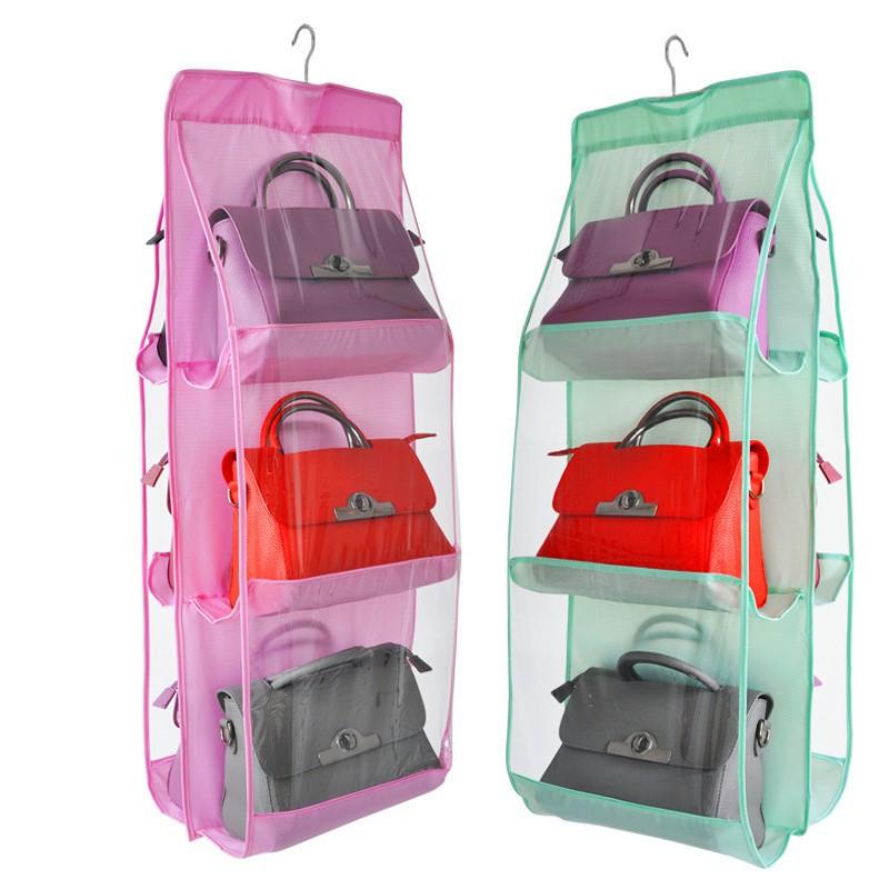 牆掛式包包收納袋中號六口袋清掛衣櫃手提包存放袋