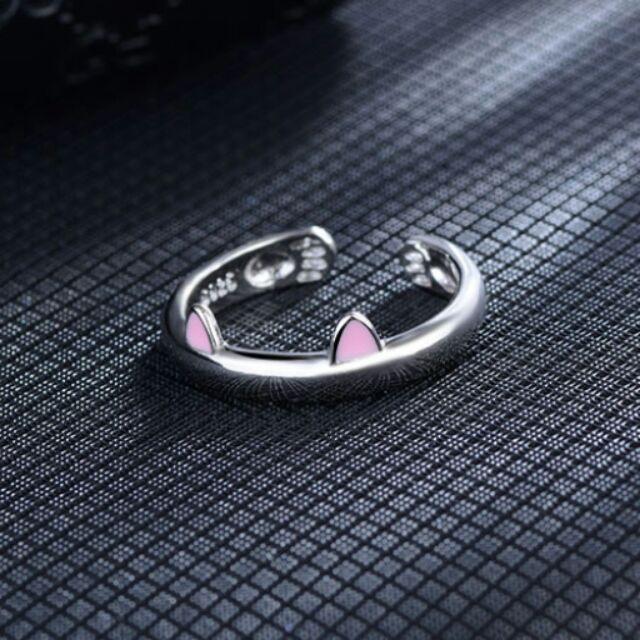 瘋飾品~粉耳貓咪戒指項鍊耳環925 銀手環手鐲手鍊手繩飾品男女情侶買一送一129 元A07