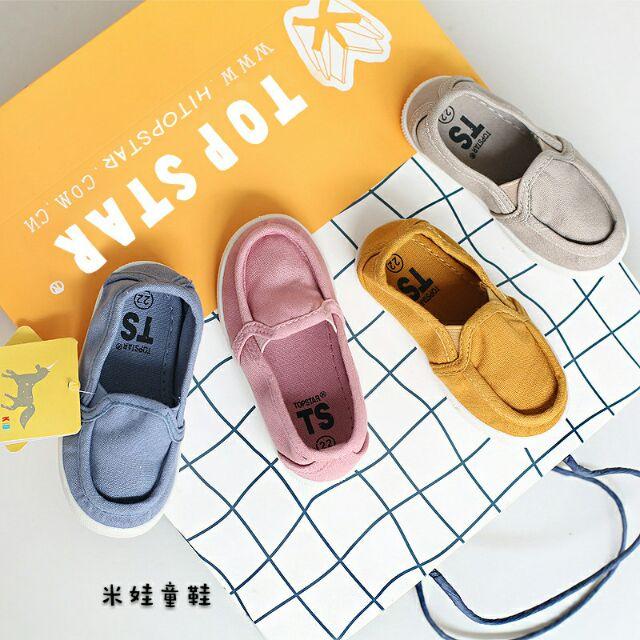 TS 正品 韓國兒童帆布鞋一腳蹬寶寶布鞋1 8 歲水洗小童鞋