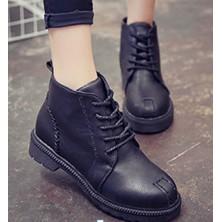112 015 系帶馬丁靴短靴短筒英倫風平底圓頭復古學生女鞋
