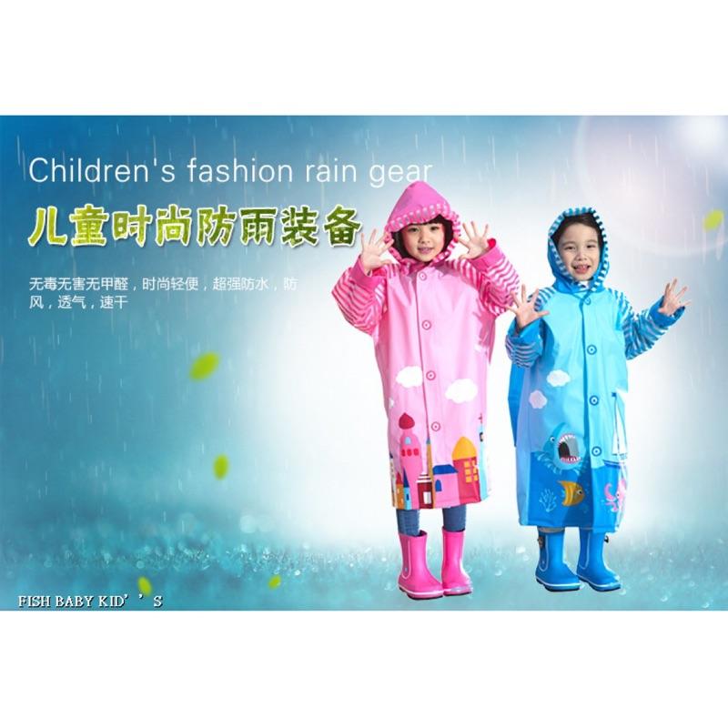 ~ ~梅雨季 ~藍螞蟻 韓國兒童雨衣加厚小孩學生雨衣帶書包位