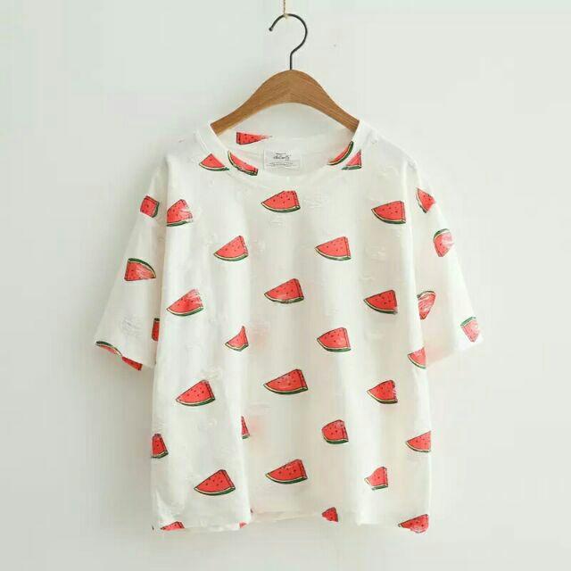 ✨卡通水果可愛印花磨破短袖t 上衣西瓜仙人掌胡蘿蔔