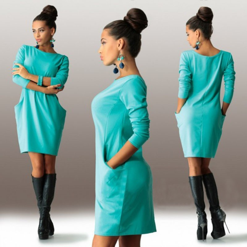 PH Ω0087 大牌風圓領純色洋裝藍綠