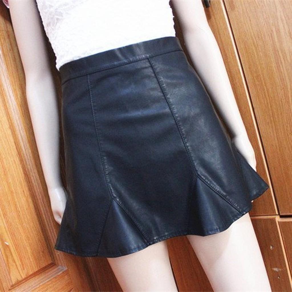 Doubble 高腰修身包臀魚尾拼接荷葉邊仿小羊皮pu 皮質皮革短裙