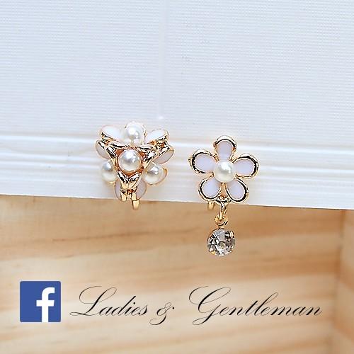 Ladies gentleman 2 色五瓣小花球不對稱小花單鑽珍珠系列夾式耳環耳環前後扣