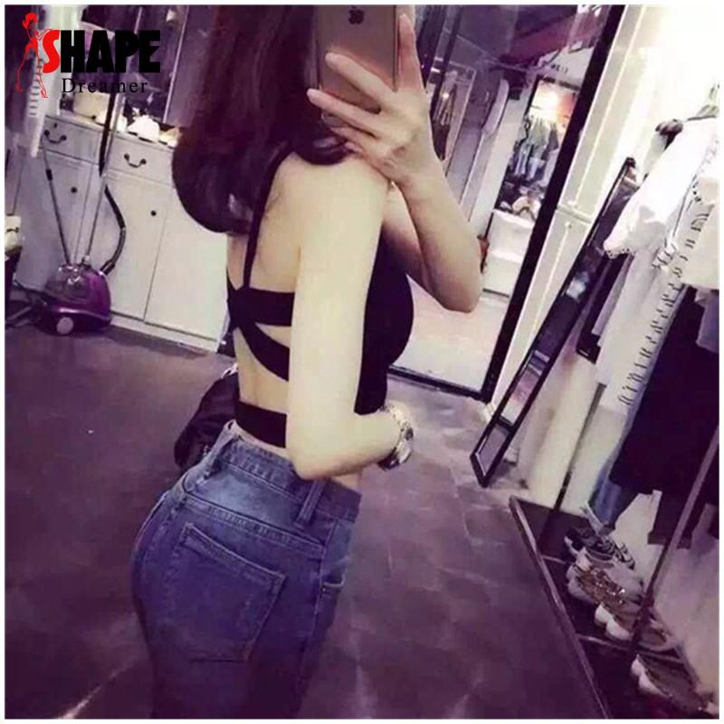 寬交叉背帶裹胸性感吊帶抹胸黑白可拆胸墊背心