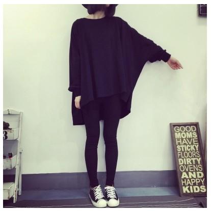 凸凸潮服~  ~J228 秋裝 女裝寬鬆顯瘦原宿風同款簡約中長款斗篷式長袖衛衣