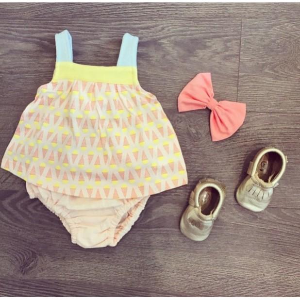 女童寶寶粉嫩滿印冰淇淋吊帶背心棉上衣~貝兒比嬰童品~