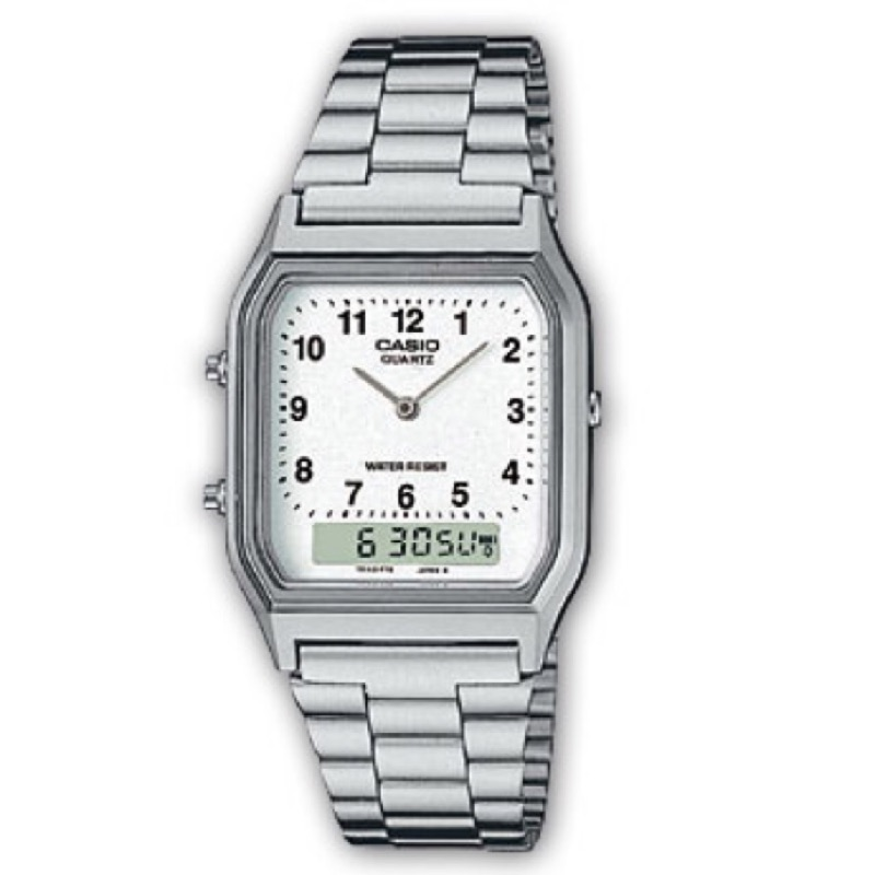 CASIO 復古潮流雙顯錶AQ 230A ◆日常 防水◆結合指針與數字螢幕雙顯時間◆自動日