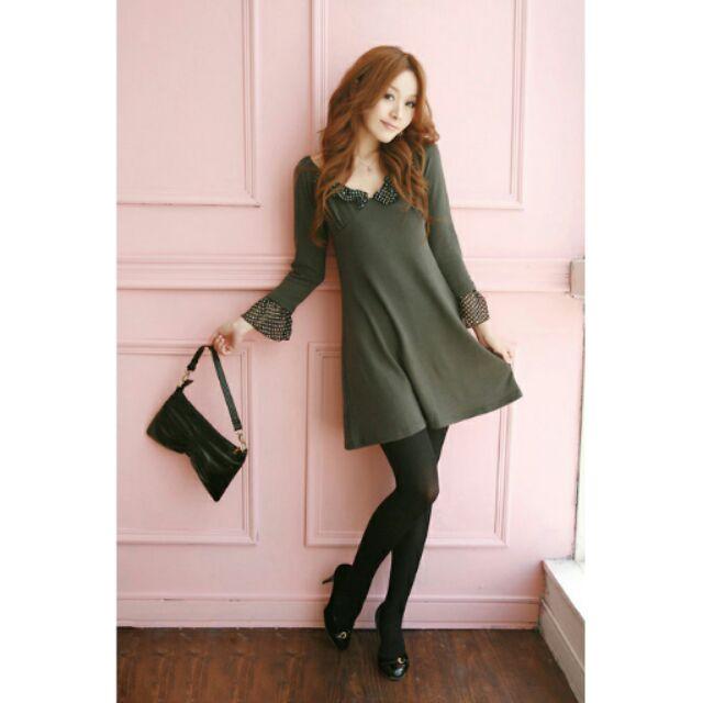 未拆優雅韻味點點雪紡袖口繫脖後綁帶蝴蝶結長袖綠色素面棉質洋裝秋裝