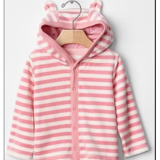 GAP BABY BOY Velour stripe bear hoodie 小熊帽條紋外
