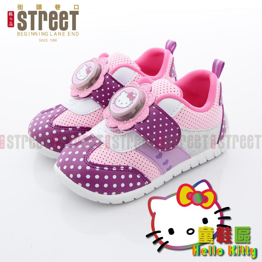 ~街頭巷口Street ~Hello Kitty 凱蒂貓中小童小花立體電燈點點學步休閒鞋K