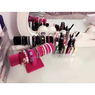 DOCOA ▲ ▲絨布化妝盒首飾盒手鍊手環收納盒黑絨單管