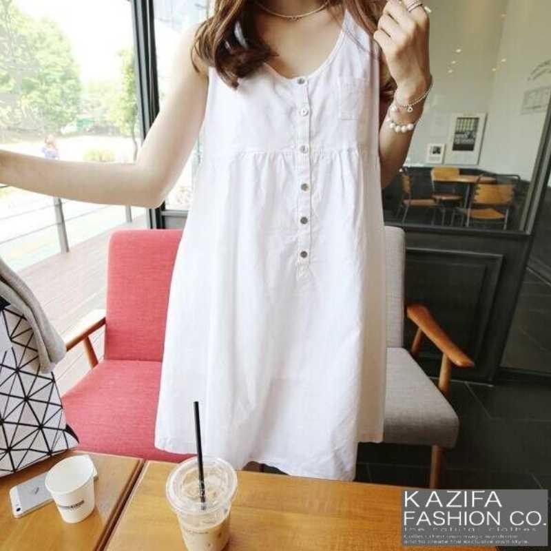 卡西法~簡約休閒風格排釦無袖棉麻純色小洋裝~DN06253037 ~