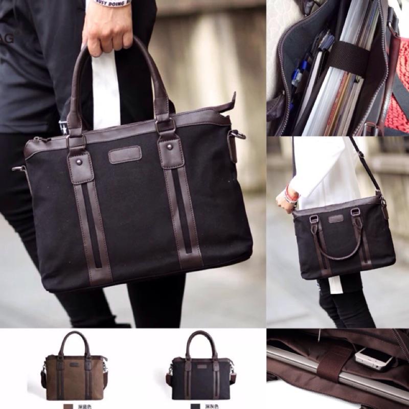 原創耐磨帆布公事包電腦包14 吋筆電內膽防震包手提包斜背包男包筆電包