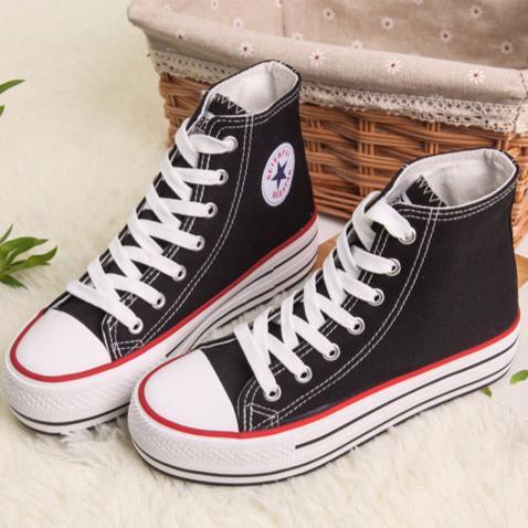 高筒帆布鞋女 潮純色厚底松糕鞋學生休閒鞋黑色36