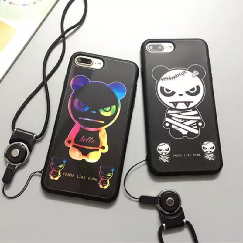 橘喵嗚小舖iphone6 iphone7 hipanda 酷酷熊貓鏡面情侶手機殼掛繩( )