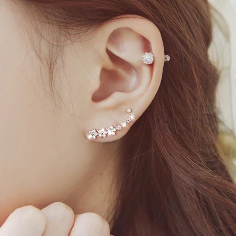 925 純銀鑲鑽耳環耳釘星星 戴法日韓甜美