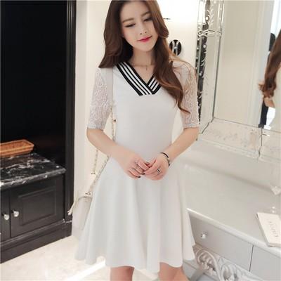 實拍雪紡洋裝蕾絲短袖V 領連衣裙氣質名媛性感大碼洋裝禮服洋裝