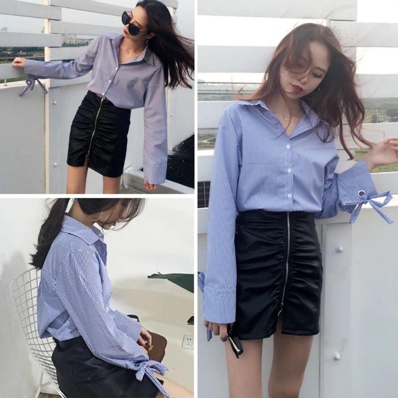 韓國chic 百搭寬鬆翻領條紋喇叭袖棉麻長袖襯衫上衣