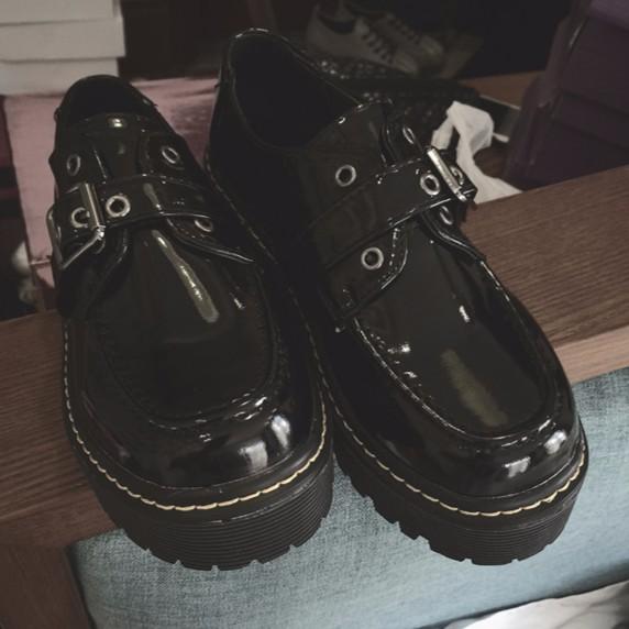 英倫風復古小皮鞋中跟學院風粗跟圓頭休閒鞋厚底鞋