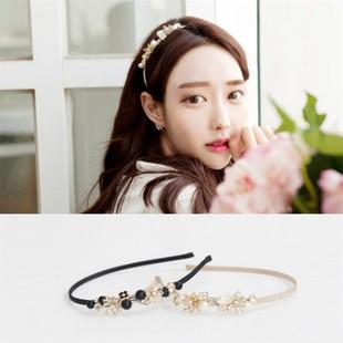 韓國甜美爆款 名媛珍珠花朵髮箍B15019Mani store 韓系飾品髮帶髮束髮圈髮箍髮