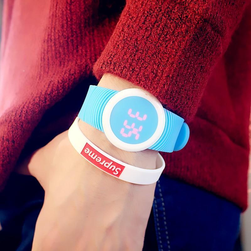 韓國簡約 潮流男女表 學生 led 觸控夜光情侶電子手錶