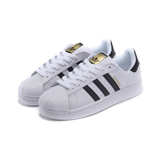 香港 Adidas Originais 三葉草貝殼板鞋男鞋金標 黑白休閒女鞋情侶