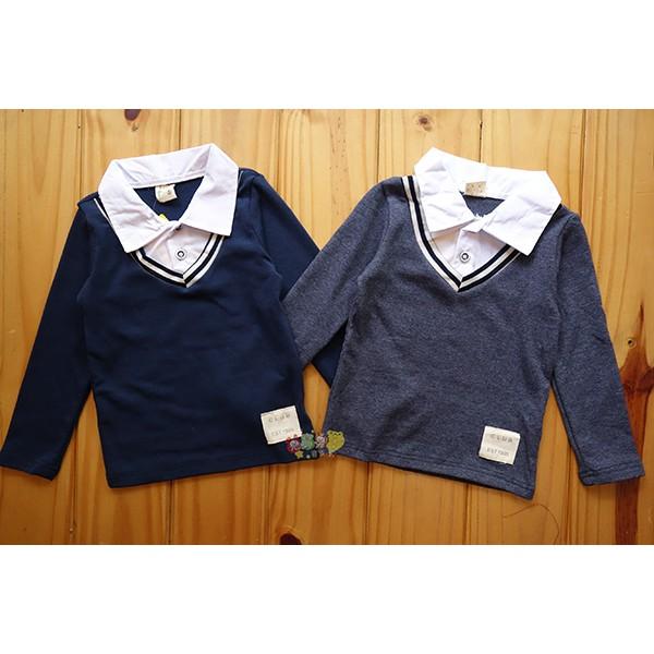 65594 紳士風假二件文青棉質polo 衫襯衫5 15 號中小童