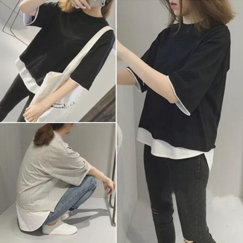 休閒寬鬆圓領假兩件襯衫拼接前短後長短袖t 恤女