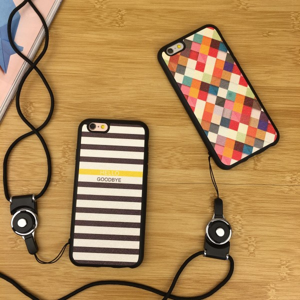 iPhone ⚡️C074 彩色格子條紋情侶矽膠手機殼