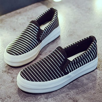 ~A 6786 黑37 ~ 百搭低筒條紋厚底鬆糕底懶人鞋休閒鞋帆布鞋女鞋