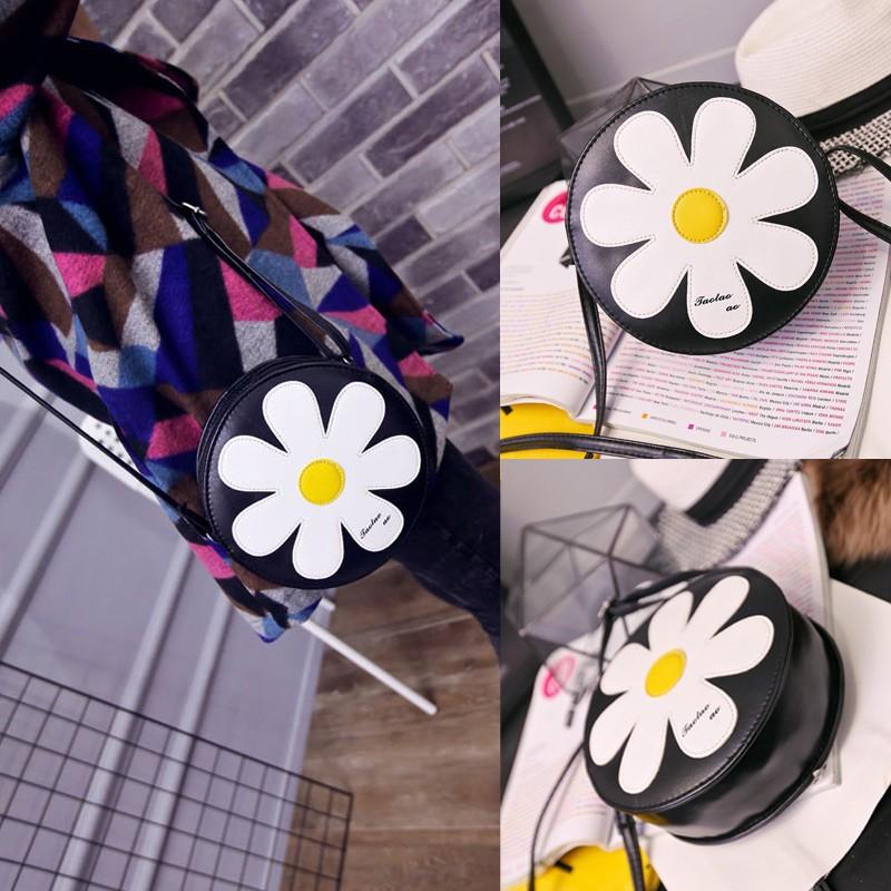 女包 斜挎包可愛太陽花拉鏈閉合可調節肩帶單肩小圓包零錢手機包
