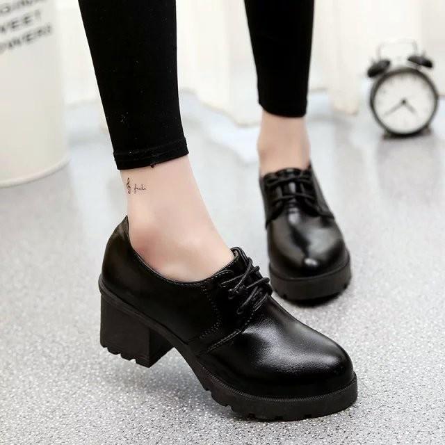 2016  粗跟女鞋圓頭系帶淺口漆皮單鞋舒適高跟防水臺潮鞋子
