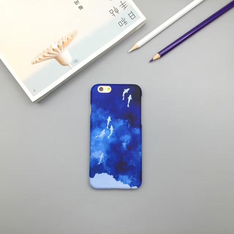 藍色暈染蘋果iphone5 5s se 手機殼i6 6s 半包磨砂硬殼i6p 6plus