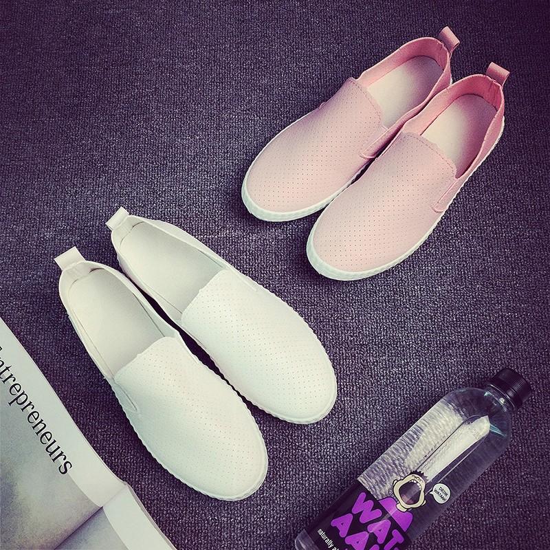 鏤空帆布鞋女皮面小白鞋白色一腳蹬女鞋平跟懶人鞋平底 鞋百搭