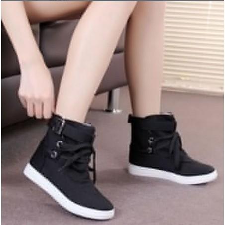 ~ ~ 女性的高幫鞋扣休閒短靴 鞋