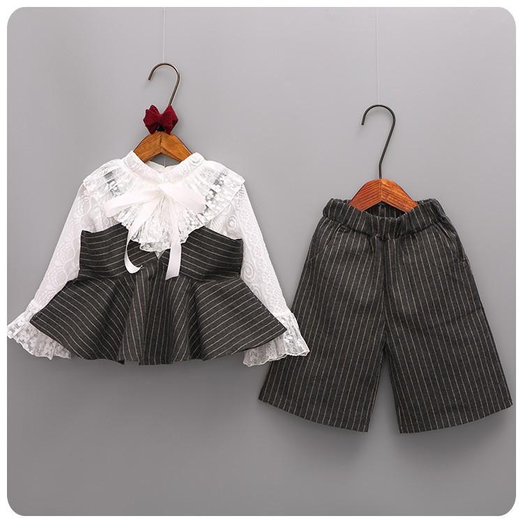 C1135 韓系女童氣質蕾絲荷葉領襯衫長袖上衣條紋吊帶馬甲背心七分闊腿褲子長褲三件套MAM