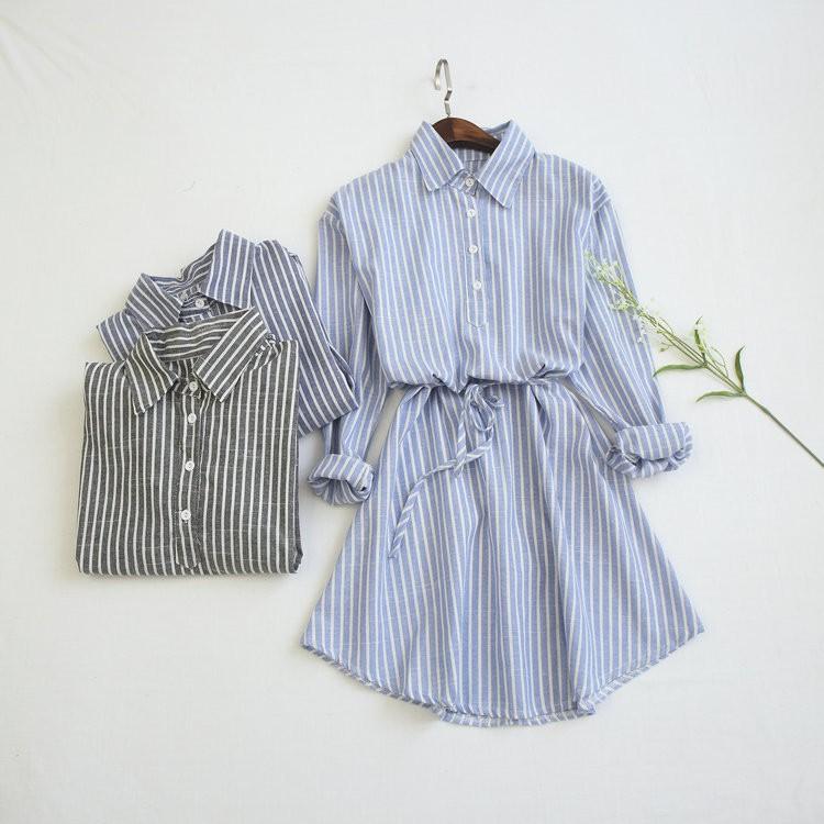 實拍顯瘦收腰蝴蝶結襯衣長袖洋裝連身裙16491