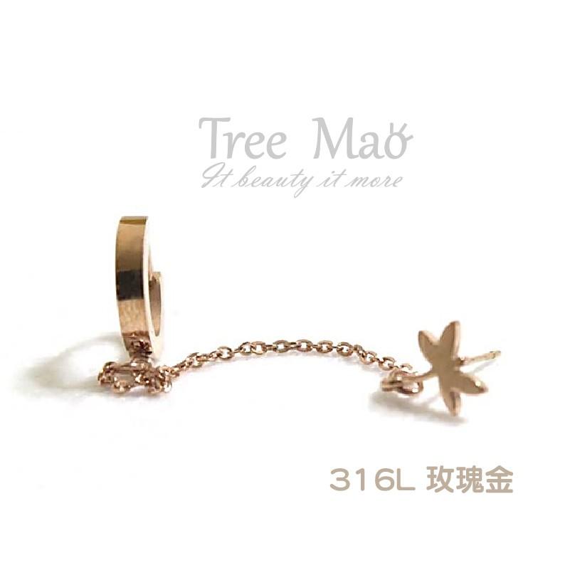鈦鋼耳環~Tree Mao 童話彼得潘耳環~一只玫瑰金耳環316L 鈦鋼耳環防敏鋼耳環童話