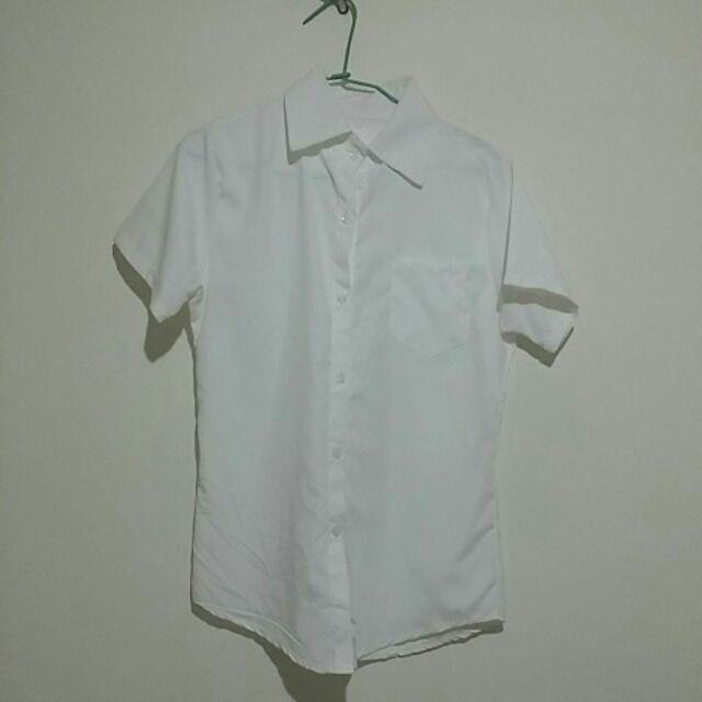 蜜桃絨短袖白色襯衫