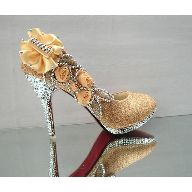 ~尤路路~~YY633 ~花朵水鑽新娘鞋水鑽高跟鞋婚鞋金色紅色銀色粉色34 41 號宴會鞋