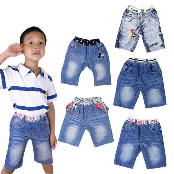牛仔褲中褲短褲五分褲褲子 純棉男女童水洗紋刺繡標章立體口袋西部風格Mickey 貼布