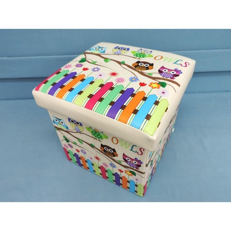 耐重100 公斤摺疊收納凳~LI3 ~鄉村貓頭鷹木製座椅皮革收納椅置物箱摺疊椅玩具箱