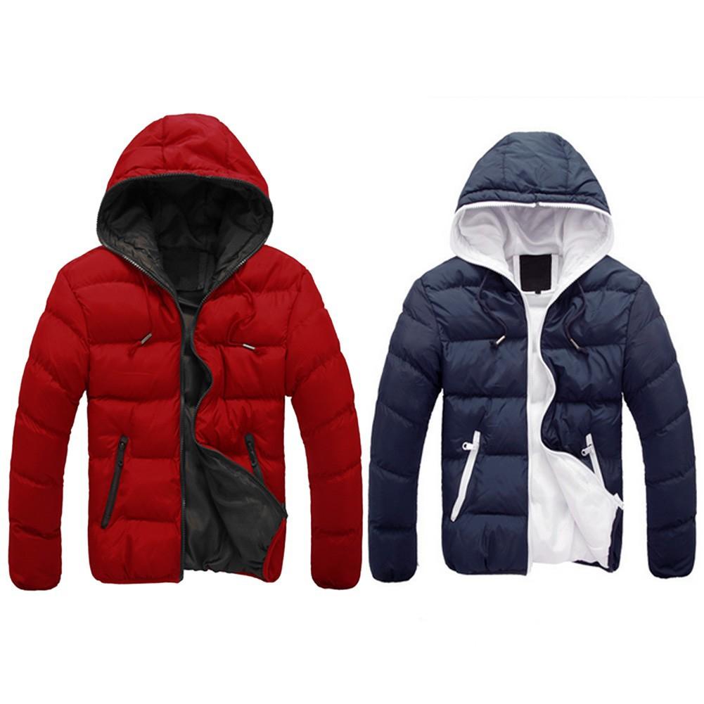 休閒連帽厚棉衣拉鍊外套大衣(紅色、蓝色)
