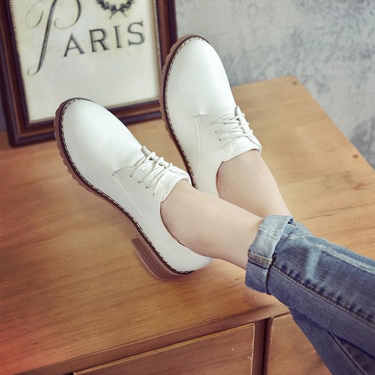春秋布洛克女鞋英倫系帶圓頭復古小皮鞋學院風粗跟牛津鞋平底單鞋