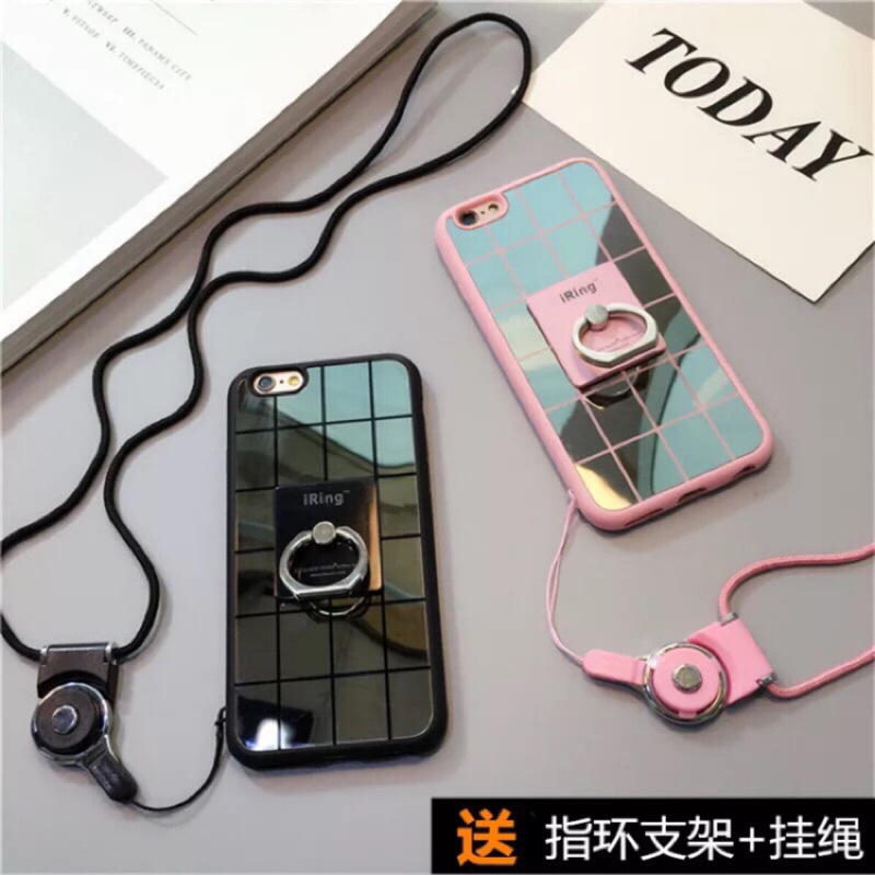( )iphone7 潮牌鏡面iphone6plus 矽膠套帶掛繩蘋果6s 手機殼指環支架